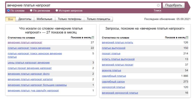 Вечерние платья напрокат Томск - Яндекс вордстат